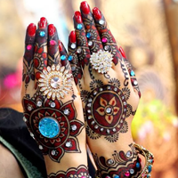 Multi Coloured Mehendi